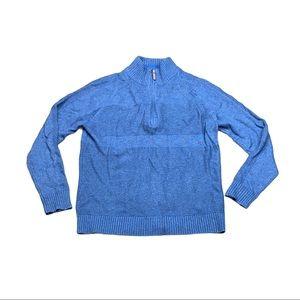 Smart Wool pull over fleece blue sweater
